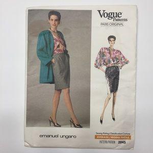 Vintage Women's Vogue Pattern Emanuel Ungaro 2045
